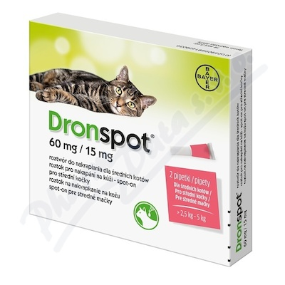 Dronspot 60mg/15mg střední kočky spot-on 2x0.7ml