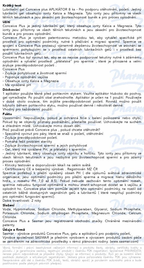 Conceive Plus Lubrikační gel Aplikátor 8 ks